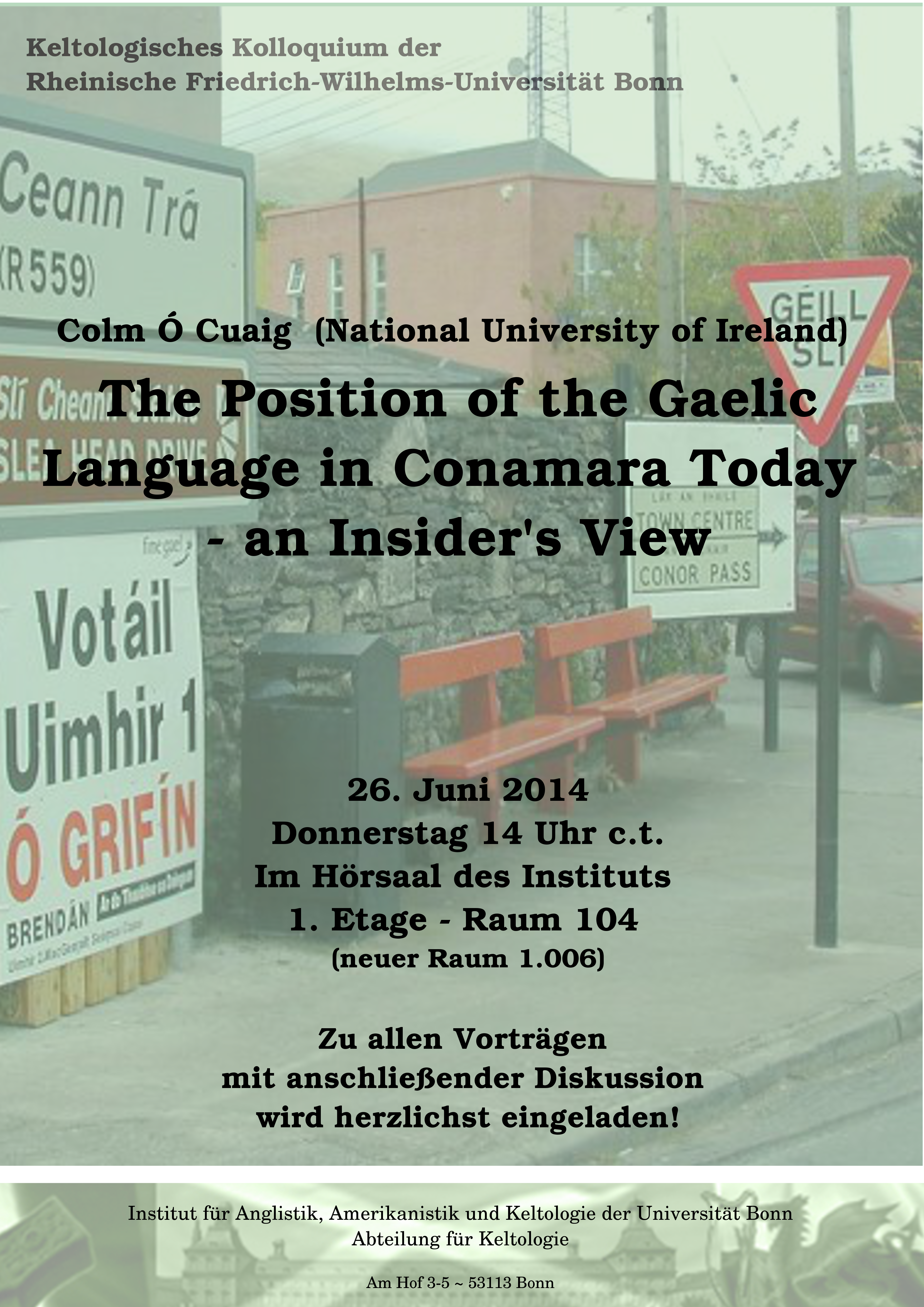 Colm Ó Cuaig: The Position of the Gaelic Language in Conamara Today -- an Insider's View